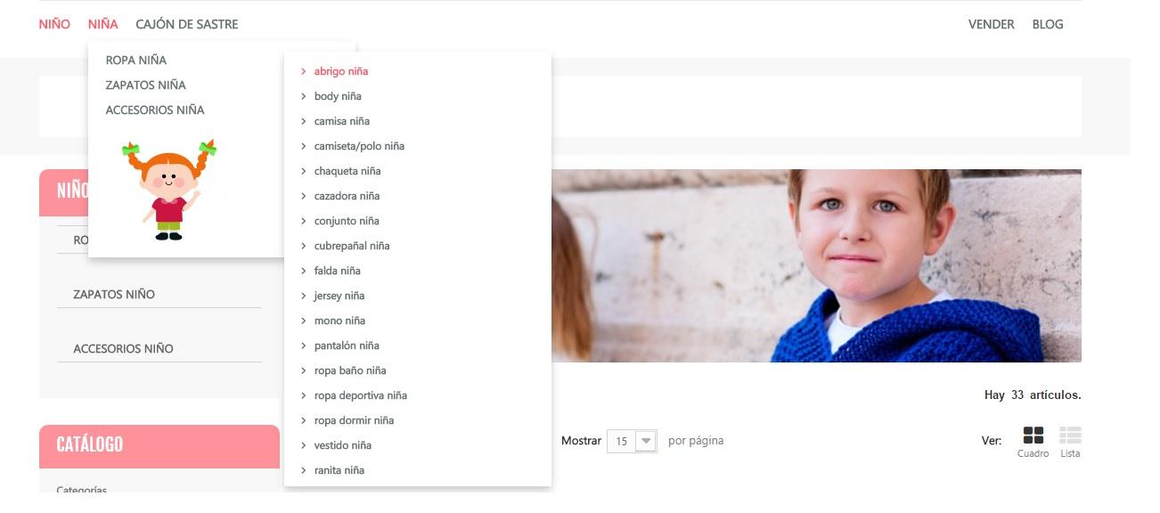 Menú desplegable de niña de la nueva tienda online diseñada por Multipliclia