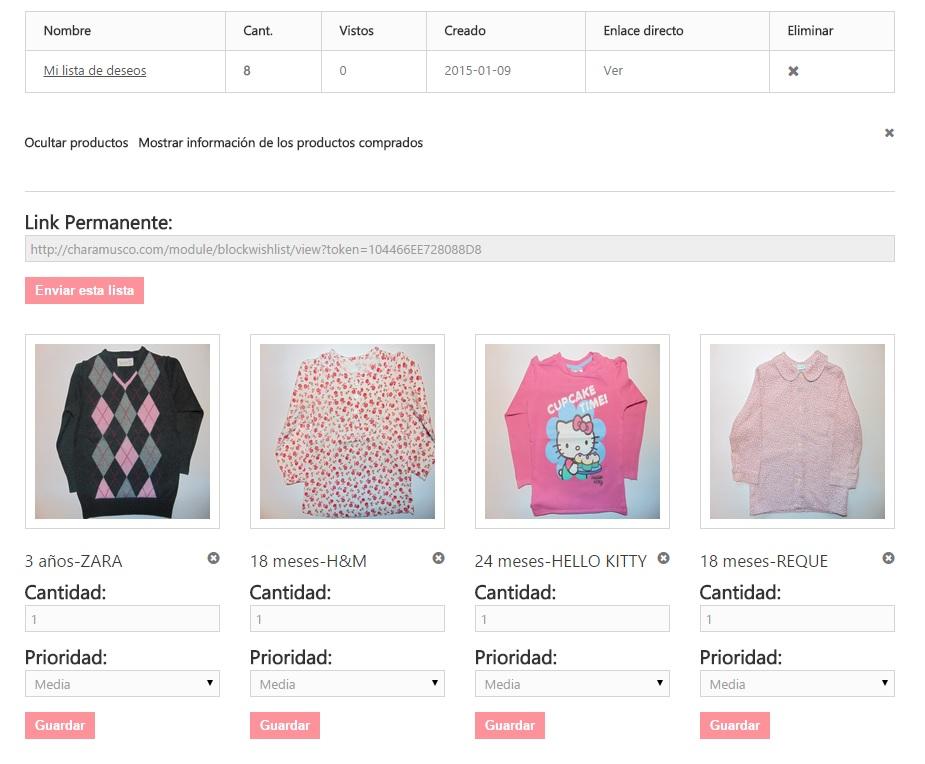 Página de la lista de deseosde la tienda online de Charamusco