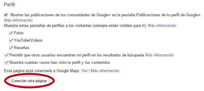 Fusión de páginas de Google +