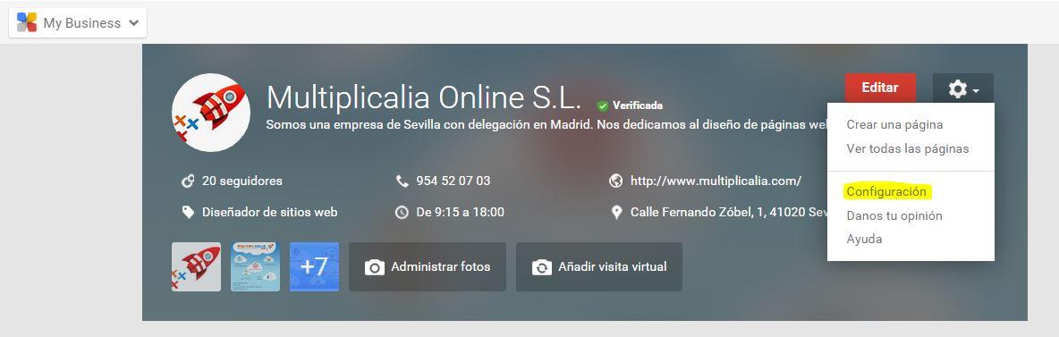 PEstaña de configuración de Google Plus
