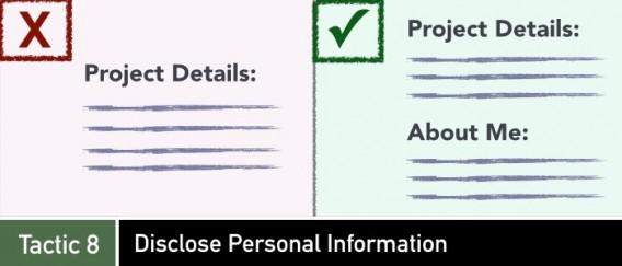 revelar información personal para crowdfunding