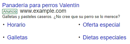 extensiones de adwords de enlaces de sitio