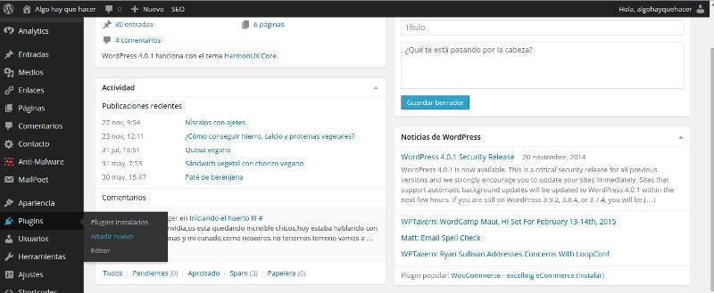 instalación de plugin en wordpress