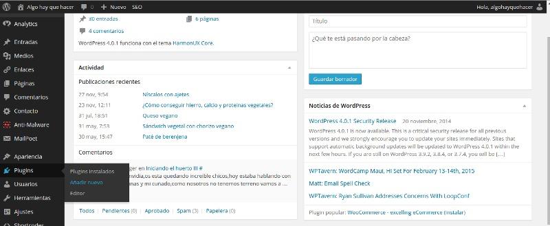 instalación de plugin en wordpress