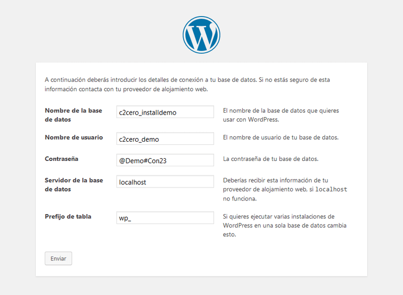 instalación wordpress poner datos base de datos
