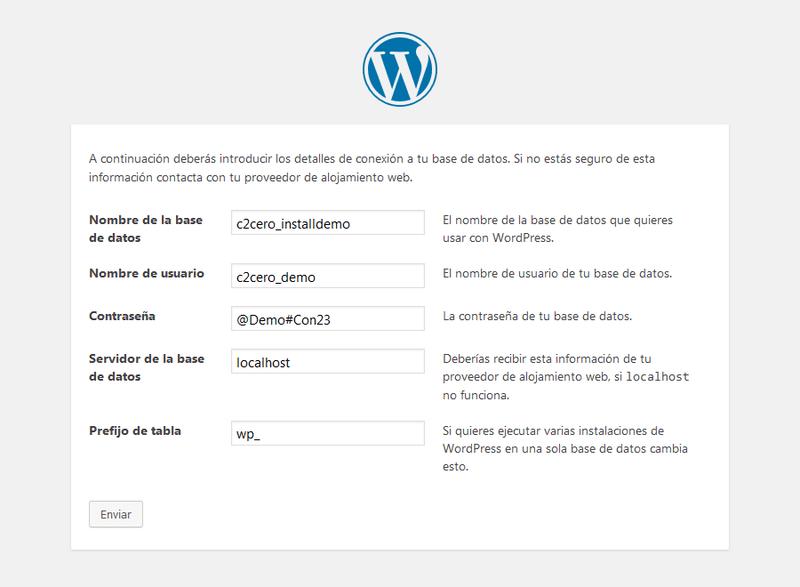 instalación wordpress poner datos base de datos