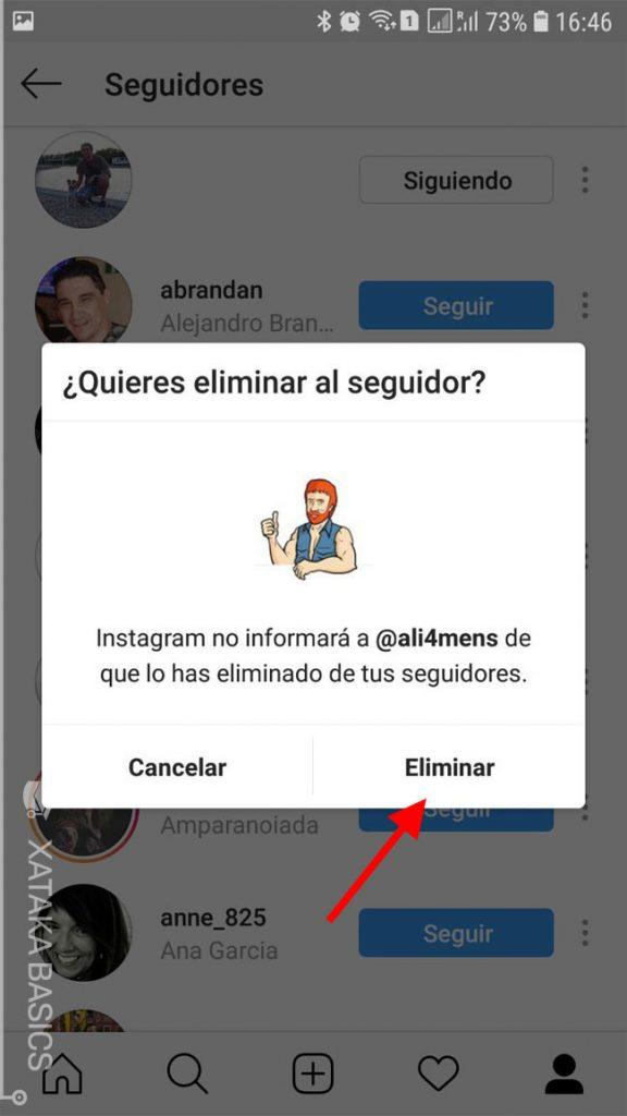 funciones instagram eliminar contactos