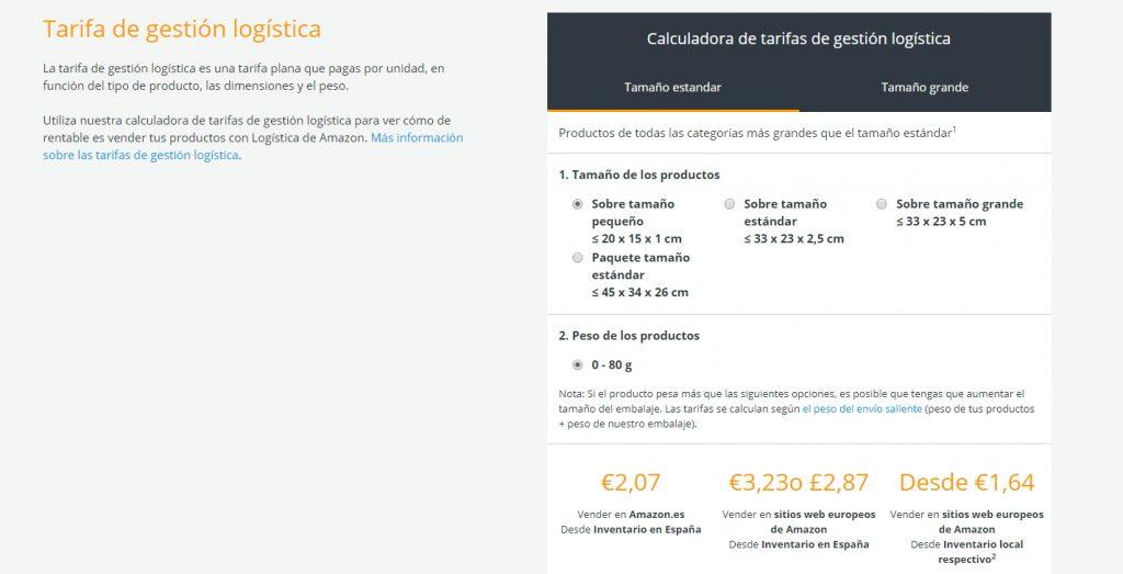 tarifas de envio para invertir en amazon