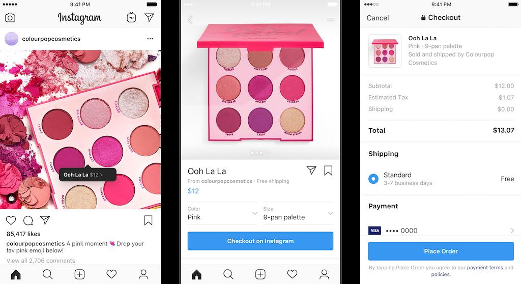 instagram checkout como funciona