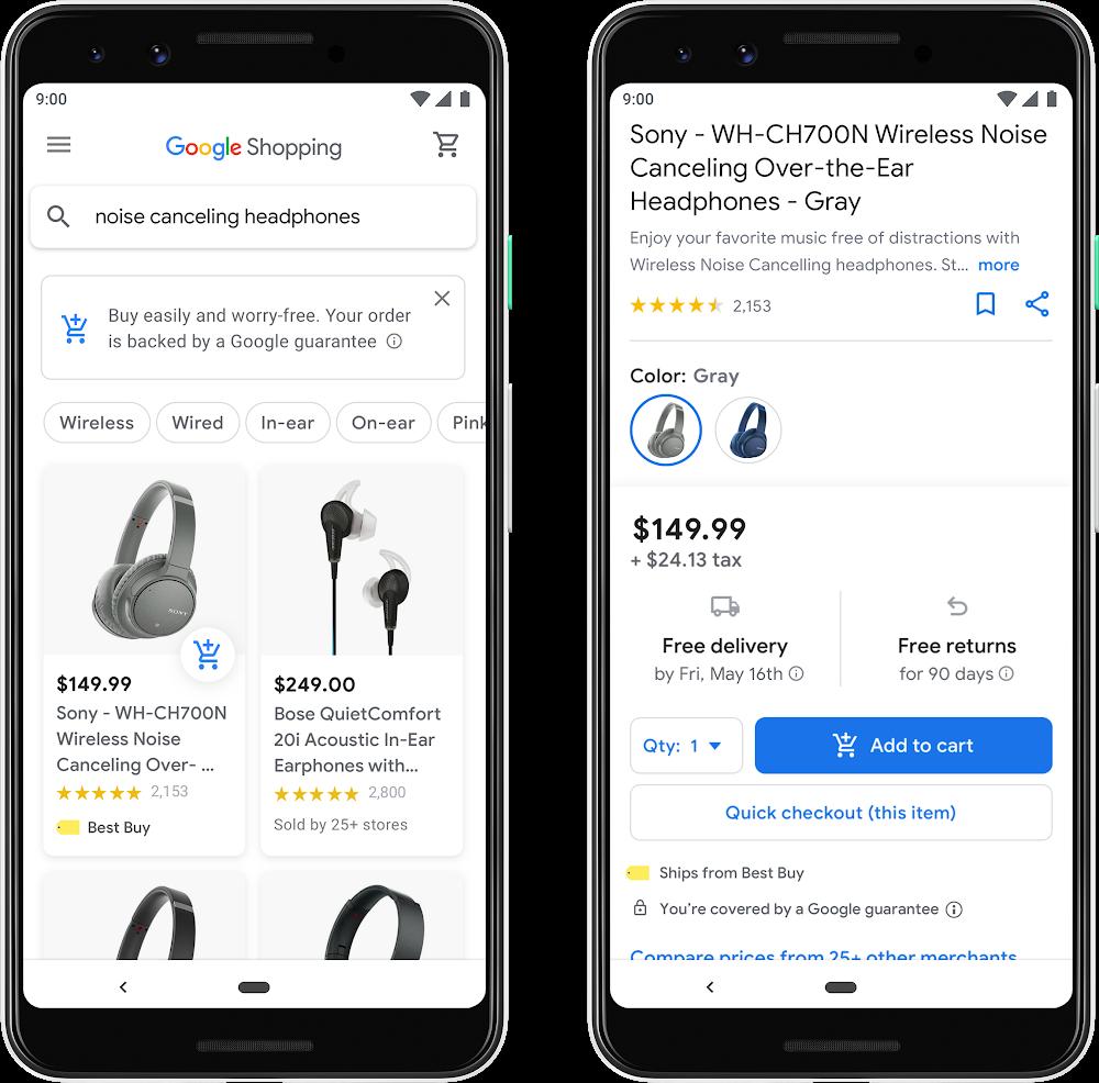 nuevo google shopping carrito azul