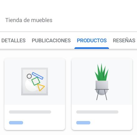 ejemplo productos a la ficha de google