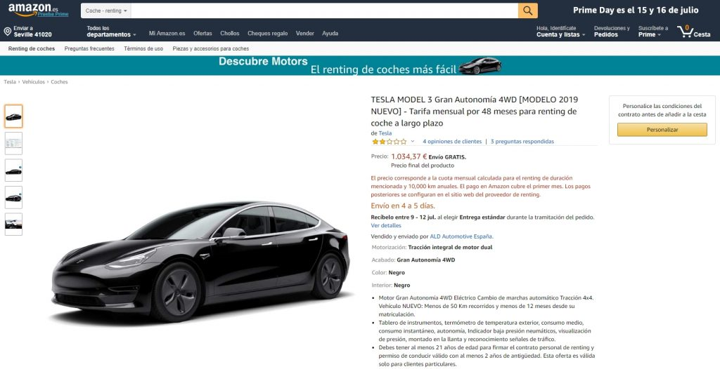 renting de tesla con amazon motors