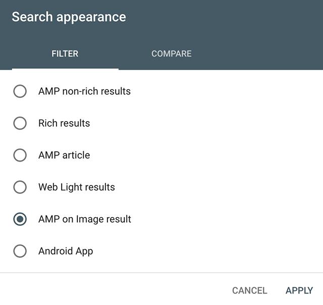 search console con amp de google imágenes