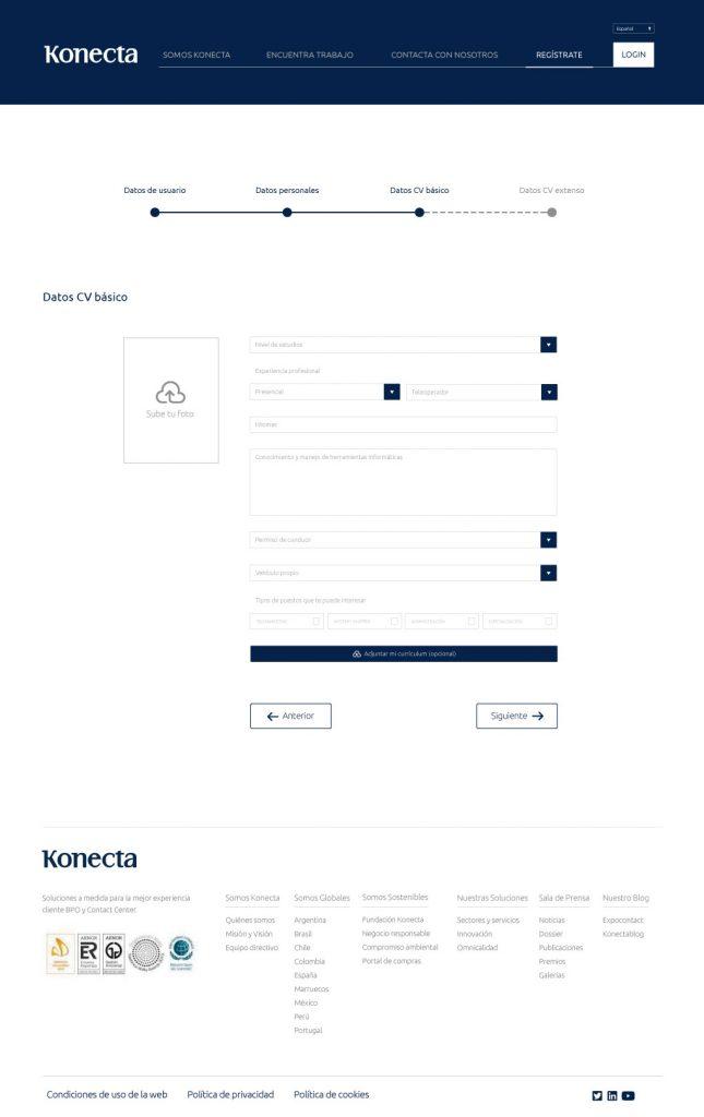 nuevo diseño web Konecta CV básico