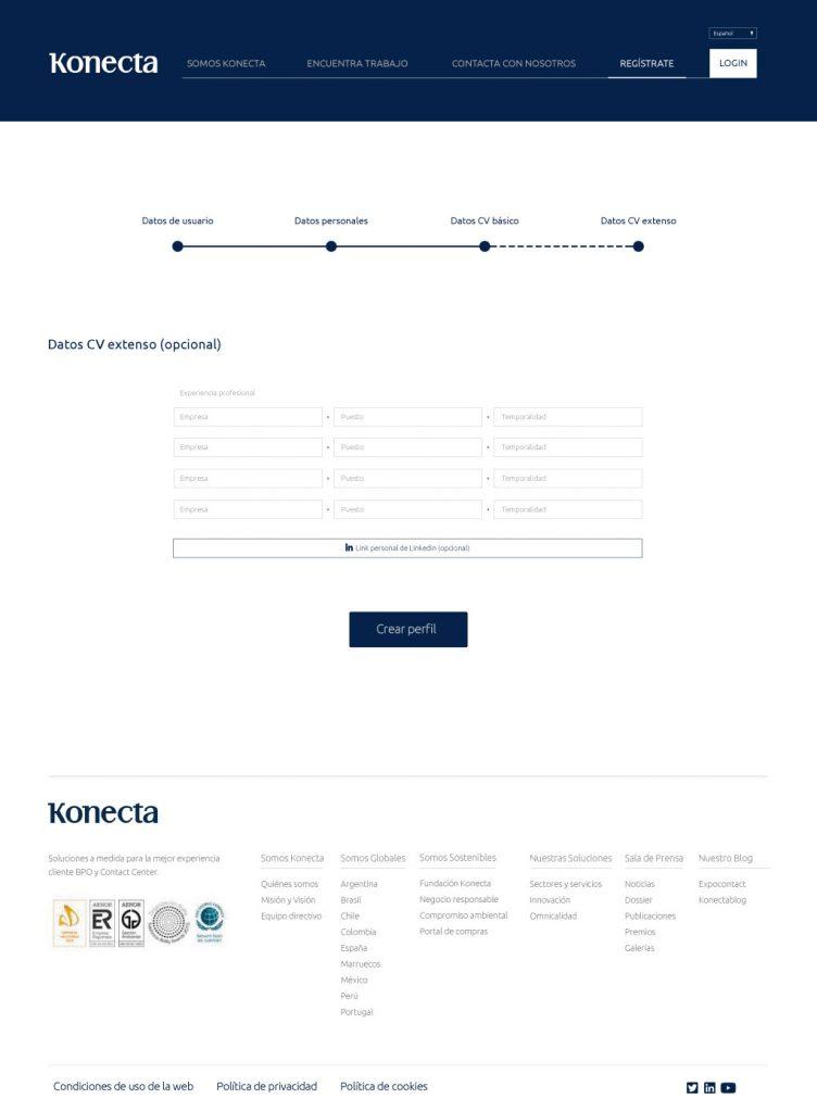 nuevo diseño web Konecta CV extenso
