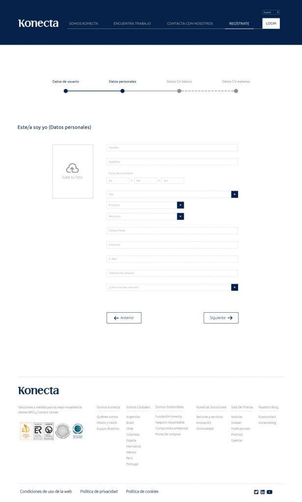 nuevo diseño web Konecta datos personales