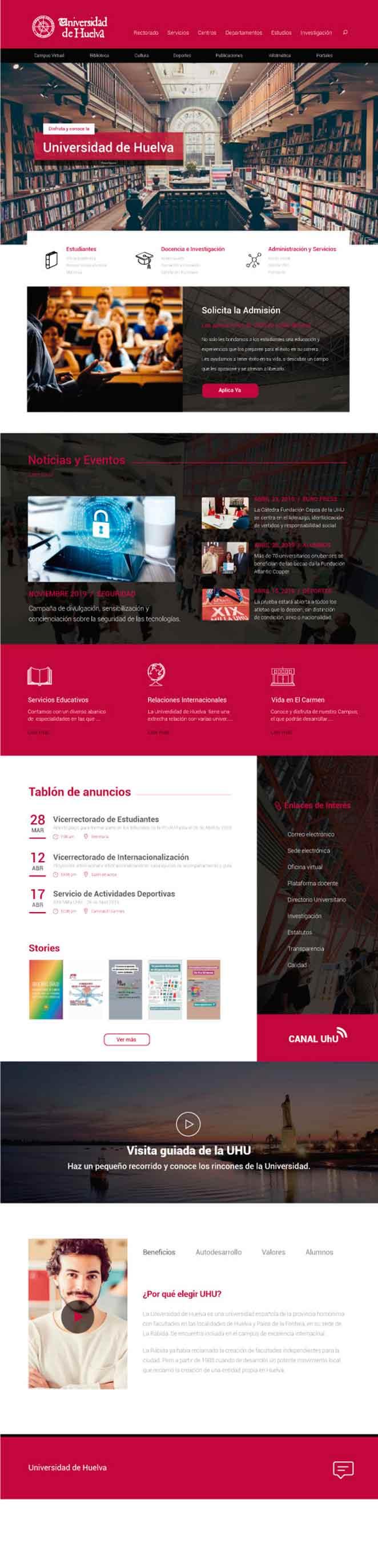 primera pagina web universidad de huelva