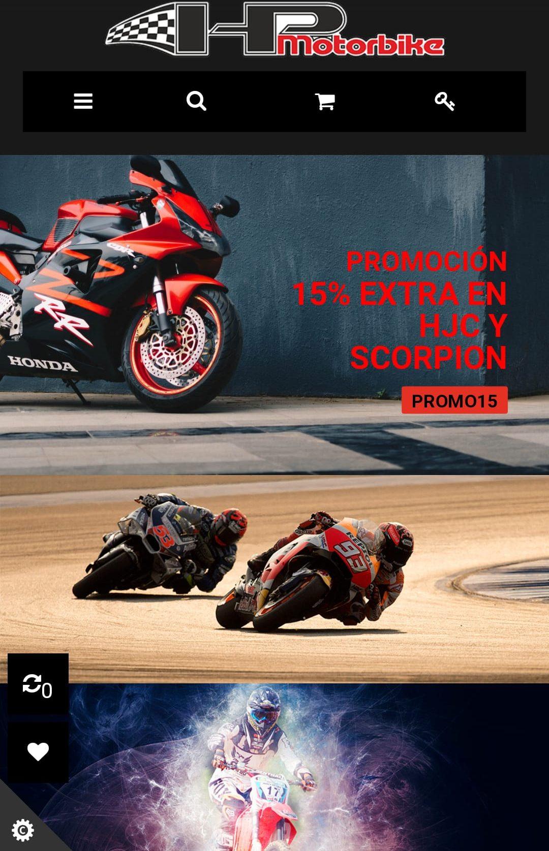 diseño tienda online para hp motorbike