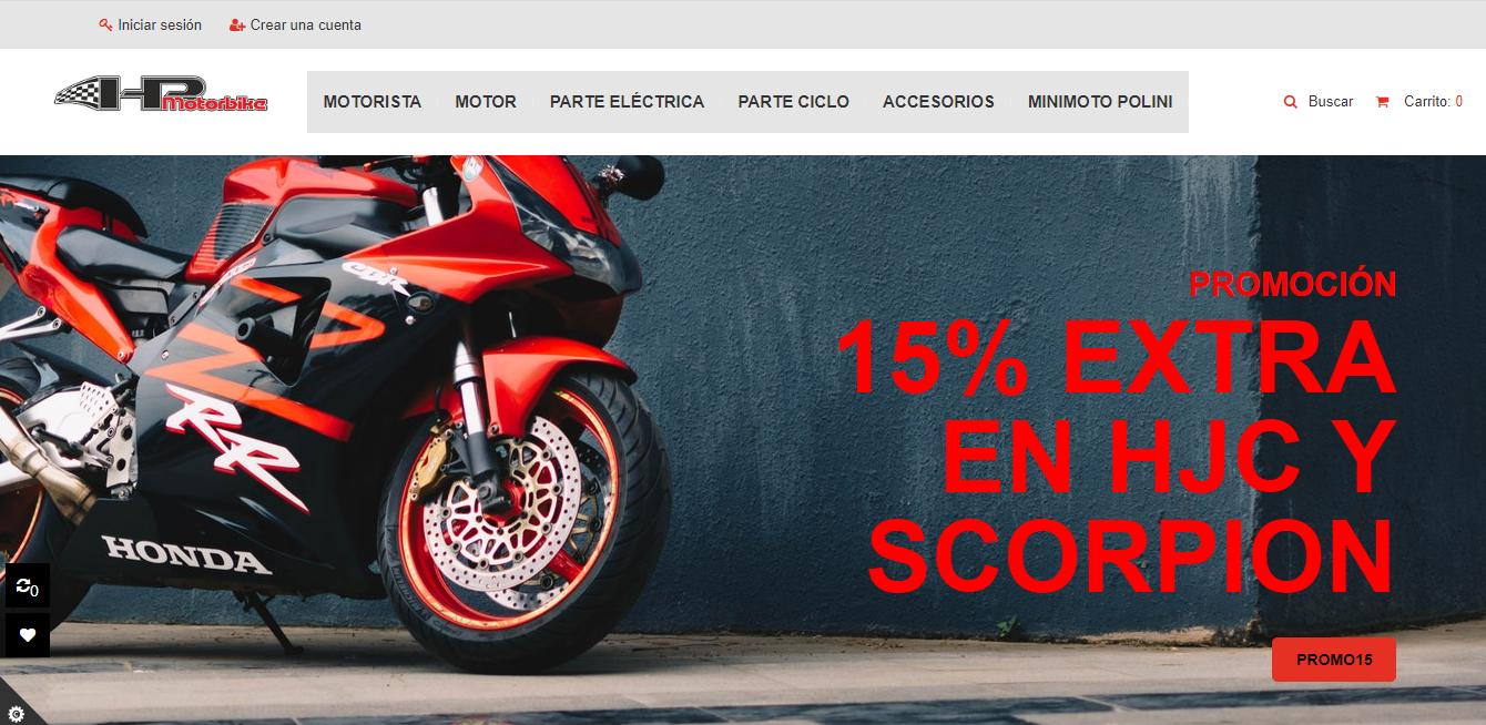 diseño tienda online para hp mortorbike