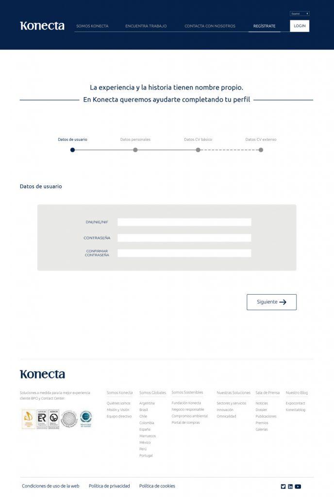 nuevo diseño web Konecta datos de usuario