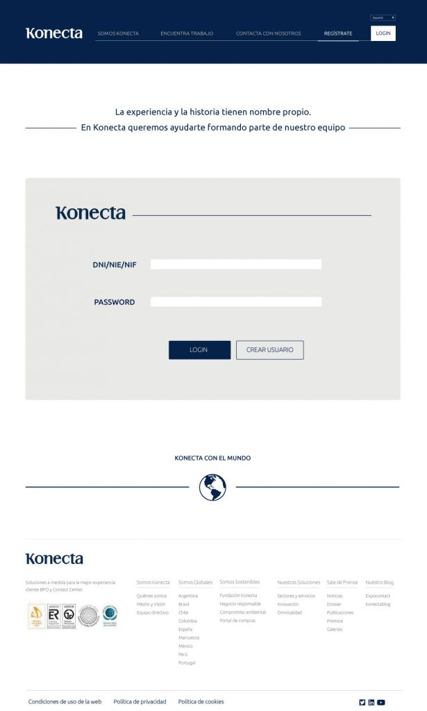 nuevo diseño web Konecta login