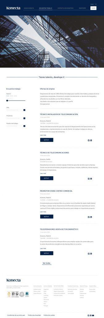nuevo diseño web konecta encuentra