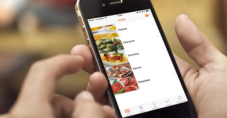 carta virtual en el restaurante