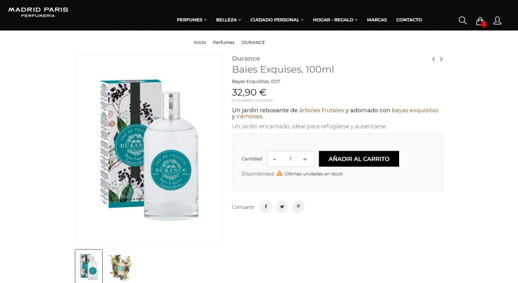 version escritorio diseño tienda online para perfumeria madrid paris