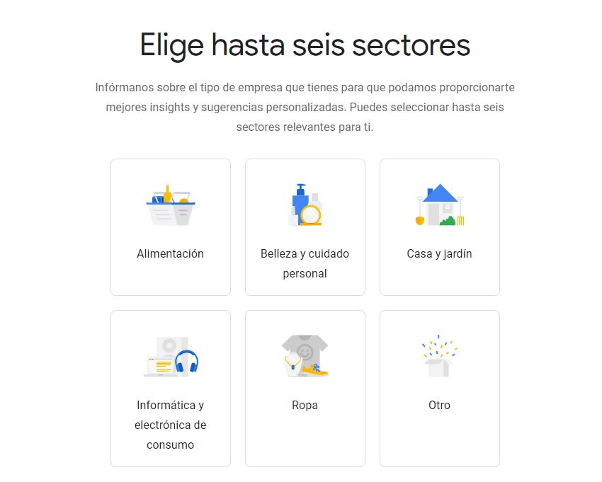 sectores de empresas en grow my store de google