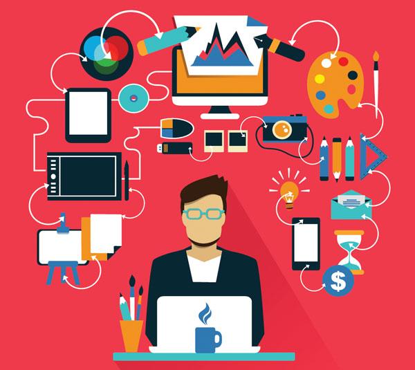 ilustración que refleja las herramientas del diseño gráfico