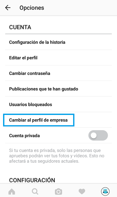 configuración del perfil de empresa en instagram